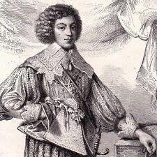 Portrait XIXe Cinq-Mars Écuyer Henri Coiffier de Ruzé d'Effiat Louis XIII