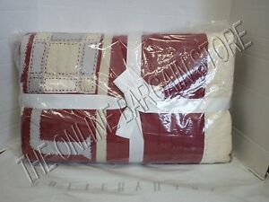 Pottery Barn PB Sentiment Patchwork Quilt Full Queen F/Q Red Cover Bedroom Peace