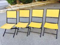🔴 Set 4 sedie VINTAGE folding - richiudibili in ferro e corda