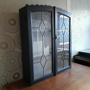 Outstanding Art Deco 1920's Leaded Glass Cocktail,Gin, Drinks, Display Cabinet