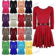 Polyester Short Sleeve Dresses for Women with Belt