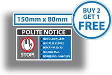 Stop Cold Calling Door Sticker Sales People No Canvassers Callers Sign