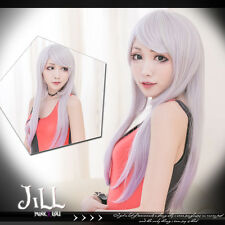 lolita anime cosplay white hair bride lilac highlight straight wig JPLH089