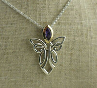 Large Sterling Silver & 10K Guardian Angel Pendant with Amethyst Keith Jack
