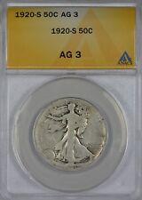 1920 S Walking Liberty Half Dollar ANACS AG3