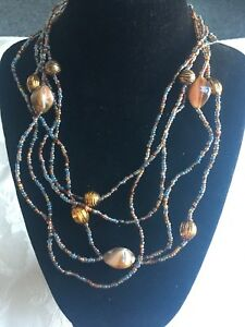 Vintage Bohemian Three strand seed bead and gold bead necklace