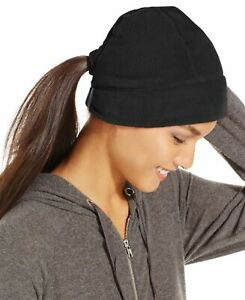 Style&Co. Women's Fleece Ponytail Loop Hat, Black O/S - SRP $38