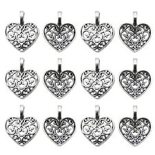 Wholesale 100 pcs Antiqued Silver Alloy Hollow Love Heart Charms Pendants Crafts