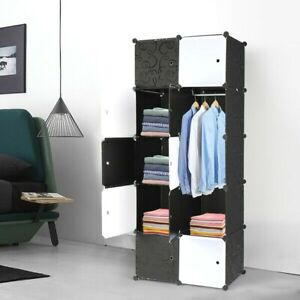 Cube Organizer Stackable Plastic Cube, Modular Storage Shelves with hanging bar