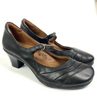 EARTH SPIRIT Mary Jane Classic Leather Heels Black Shoes Clara Women's Sz 9