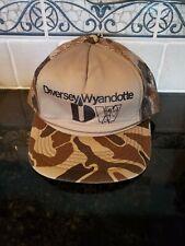 Vintage Diversey Wyandotte Mesh Trucker Hat Advertising Brown camouflage