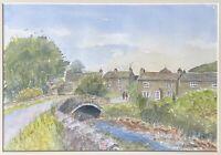 Original Framed Watercolour Painting Signed B Ogley  -Village Scene Bridge River