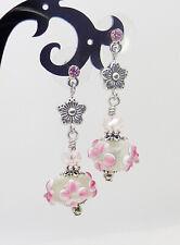 Pretty Pink Vintage Style Drop LAMPWORK Earrings
