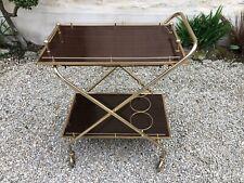 Desserte / table roulante en métal doré et Formica 1971