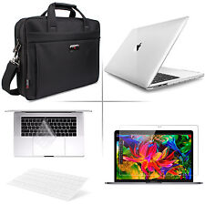 "[2018 Macbook Pro 15.4""A1990] 4-IN-1 Ultra-Slim Clear Case & Black Laptop Bag"