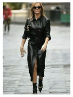 ZARA AW2020 BLACK FAUX LEATHER GATHERED SHIRT DRESS SIZE S SOLD OUT BLOGGERS