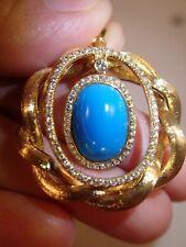 18k yellow gold 1.12ct SI G/H diamond turquoise twisted circle pendant 8.6g