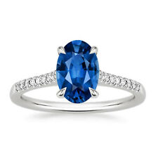 2.33 Carat Oval Real Diamond Blue Sapphire Ring Gemstone 14K White Gold Size O M