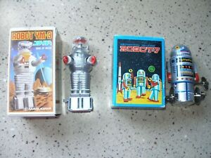 "1985 Original MASUDAYA YM-3 ""Lost in Space"" B9 Robot, and Robot-7 Wind ups, NIB"