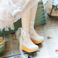 1/4 BJD Shoes MSD Dollfie Dream Thick Wooden Sole High Heels Ribbon AOD LUTS New