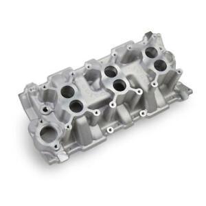 Weiand Intake Manifold 7550; 3 x 2 Dual Plane Satin Aluminum for 262-400 SBC