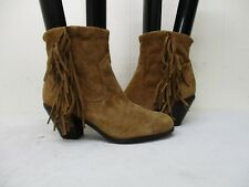 6a4a8d2a3 Sam Edelman Louie Brown Suede Leather Fringe Zip Ankle Cowboy Boots Size 7 M