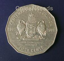 "2001 50 Cent "" Australian Capital Territory "" ACT Federation Australian 50c Coin"