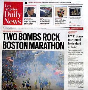 Boston Marathon Bombings Newspaper Los Angeles Daily News 4/16/2013 Terrorists