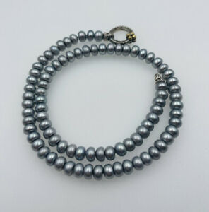Barbara Bixby Sterling Silver & 18k Gold Gray Pearl Necklace