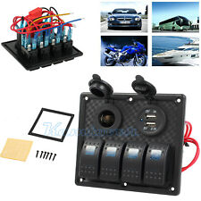 4 Gang Dual USB Charger Car Waterproof Marine Power Socket LED Switch Panel Ip68