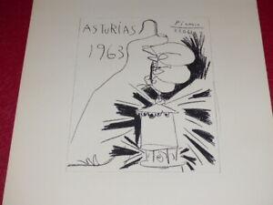 [ART XXe] PABLO PICASSO LITHOGRAPHIE ASTURIAS 1963 Mineurs 56x38 Cercle d'Art