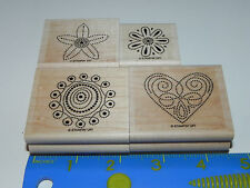 Stampin Up Polka Dot Punches Stamp Set of 4 Heart Floral Circle Dots