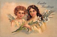 Easter Postcard Two Beautiful Young Angel Girls in the Heavens~108316