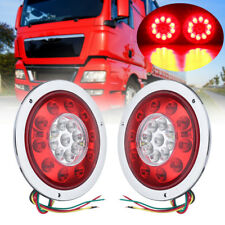 2x 4.3'' Round 19 LED Truck Trailer Lorry Brake Stop Turn Tail Light Chrome Ring