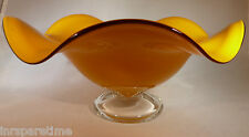"ORANGE ART GLASS RUFFLED PEDESTAL 9 1/2"" BOWL or COMPOTE"