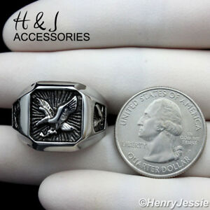 MEN Stainless Steel Black/Silver EAGLE Square Ring Size 8-13*AR122
