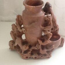 Antique Chinois savon Pierre sculptée à la main singes