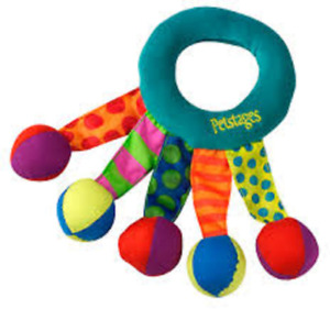 PETSTAGES TOSS AND SHAKE RING SMALL DOG PUPPY TOY FLOPPY RATTLE BALLS