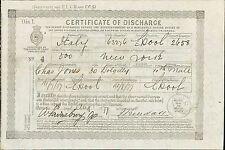 'ITALY' 1877.  Charles Jones. -  Ship Certificate of Discharge.  YZ.32