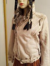 J15-ORSAY 40 M 42 L faux Pelz Leder Jacke beige Gürtel Taschen Kragen Damen SEXY