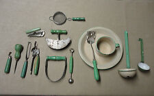 Retro Collection Kitchen Utensils Green & Cream Painted Wood Handles Lot of 14