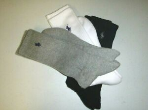 polo ralph lauren 3pair mens athletic soft knit casual crew sports socks -8-12