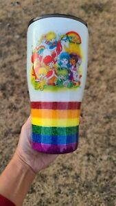 Rainbow Brite Glitter Custom Stainless steal Tumbler 30 oz with lid and straw