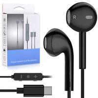 USB-C Type C Headphones Earphones with Microphone Headset Black for Samsung S20