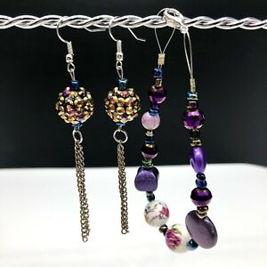 Purple Iridescent Floral Bracelet & Matching Dangle Earrings Jewelry Set