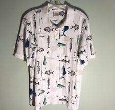 Columbia White Multi-Color Fish Print Short Sleeve Polo Shirt Men Size M
