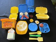 Vintage Fisher Price Pretend Food Lot Eggs, Bacon Muffins Picnic Basket Plates