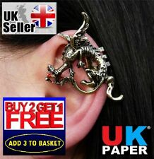 NEW GOLD DRAGON EAR CUFF CLIP WRAP LURE CRYSTAL EARRING GOTHIC PUNK VINTAGE GIFT