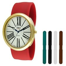 Interchangeable 5 Band Slap Watch Gift Set Gold Large Roman Numeral Dial