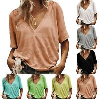 Women Ladies Deep V Neck Loose Fit Oversized Long Sleeve Baggy Blouse T-Shirts